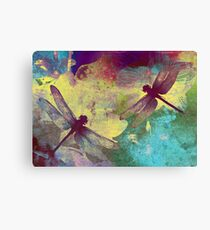 Painting Dragonflies & Orchids. Canvas Print