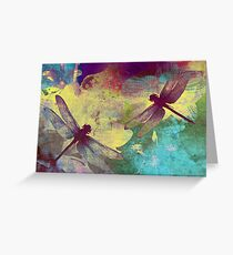 Painting Dragonflies & Orchids. Greeting Card