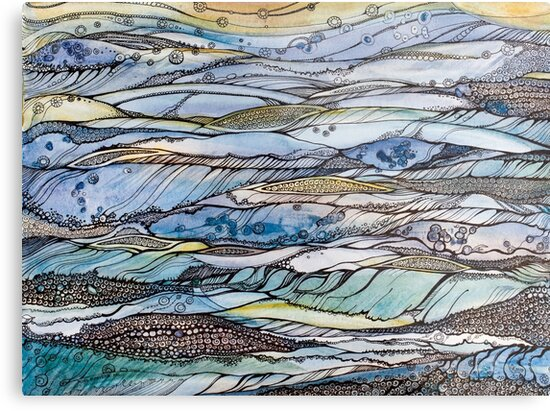Ocean my fantasies.Hand draw  ink and pen, Watercolor, on textured paper by kanvisstyle