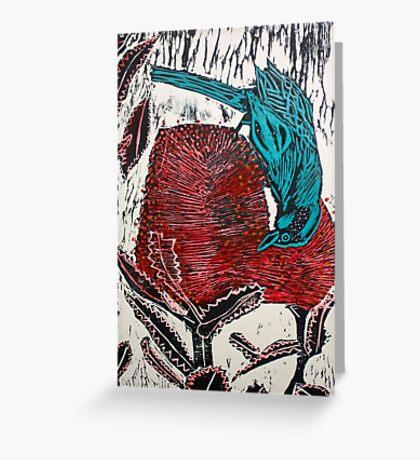 Blue Bird Woodcut Greeting Card