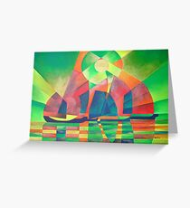 Sea of Green With Cubist Abstract Junks Greeting Card