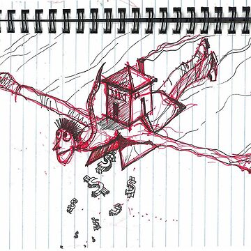 Flying House Man by atom-lino