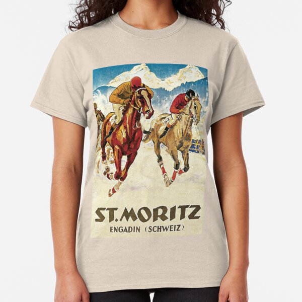 Vintage horse racing in the snow sport ad Classic T-Shirt