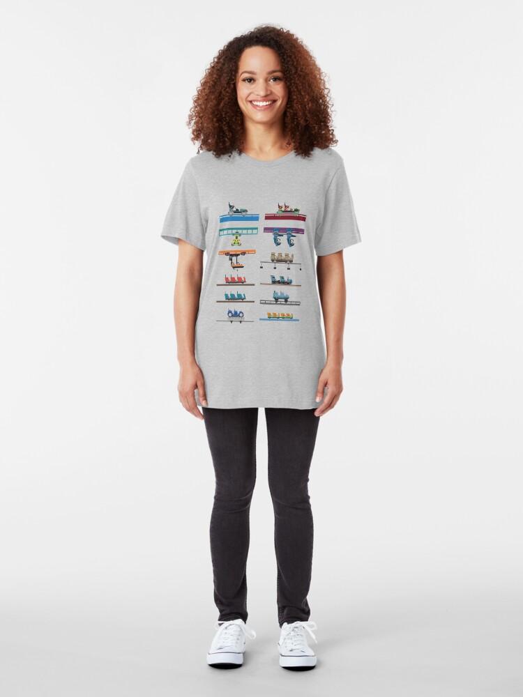Alternate view of Kings Island Coaster Cars Design Slim Fit T-Shirt