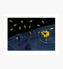 """Blue Jeans and Calendula"" Art Print"