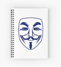 Blue Matrix Rain Guy Fawkes Spiral Notebook