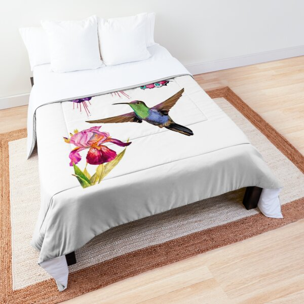 Hummingbird and butterfly flying towards some fuchsia and iris flowers Comforter