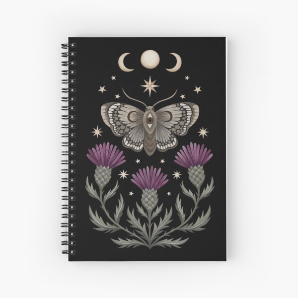 Thistle and moth Spiral Notebook