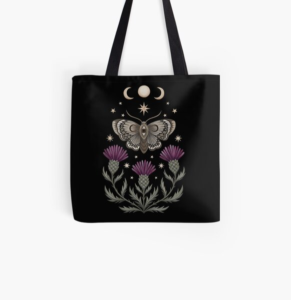 Thistle and moth All Over Print Tote Bag
