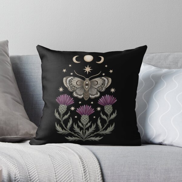 Thistle and moth Throw Pillow