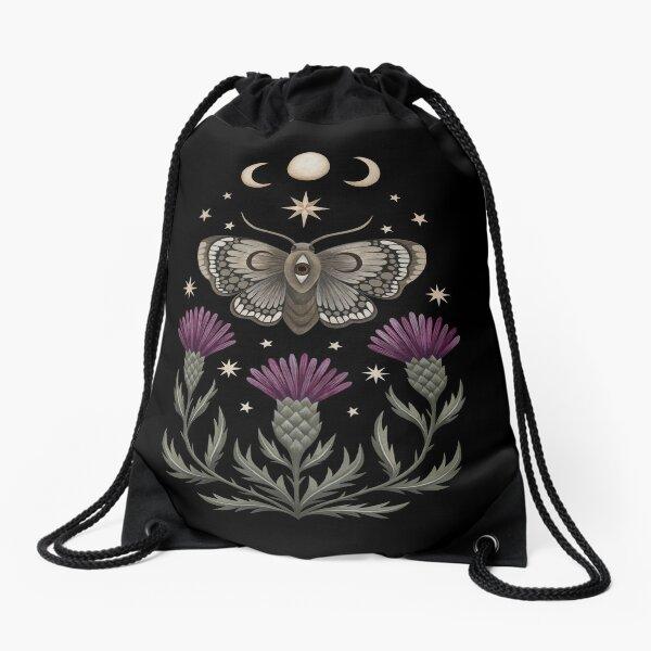 Thistle and moth Drawstring Bag