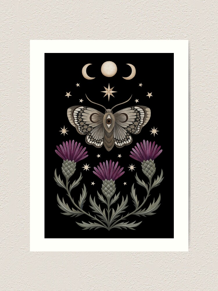 Alternate view of Thistle and moth Art Print