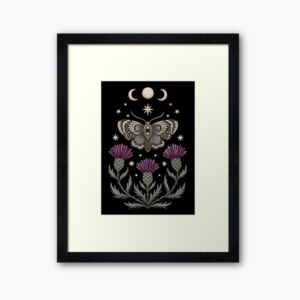 Thistle and moth Framed Art Print
