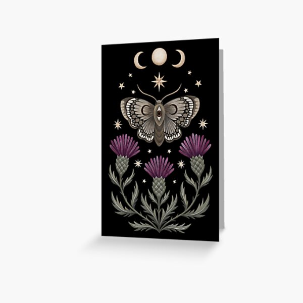 Thistle and moth Greeting Card