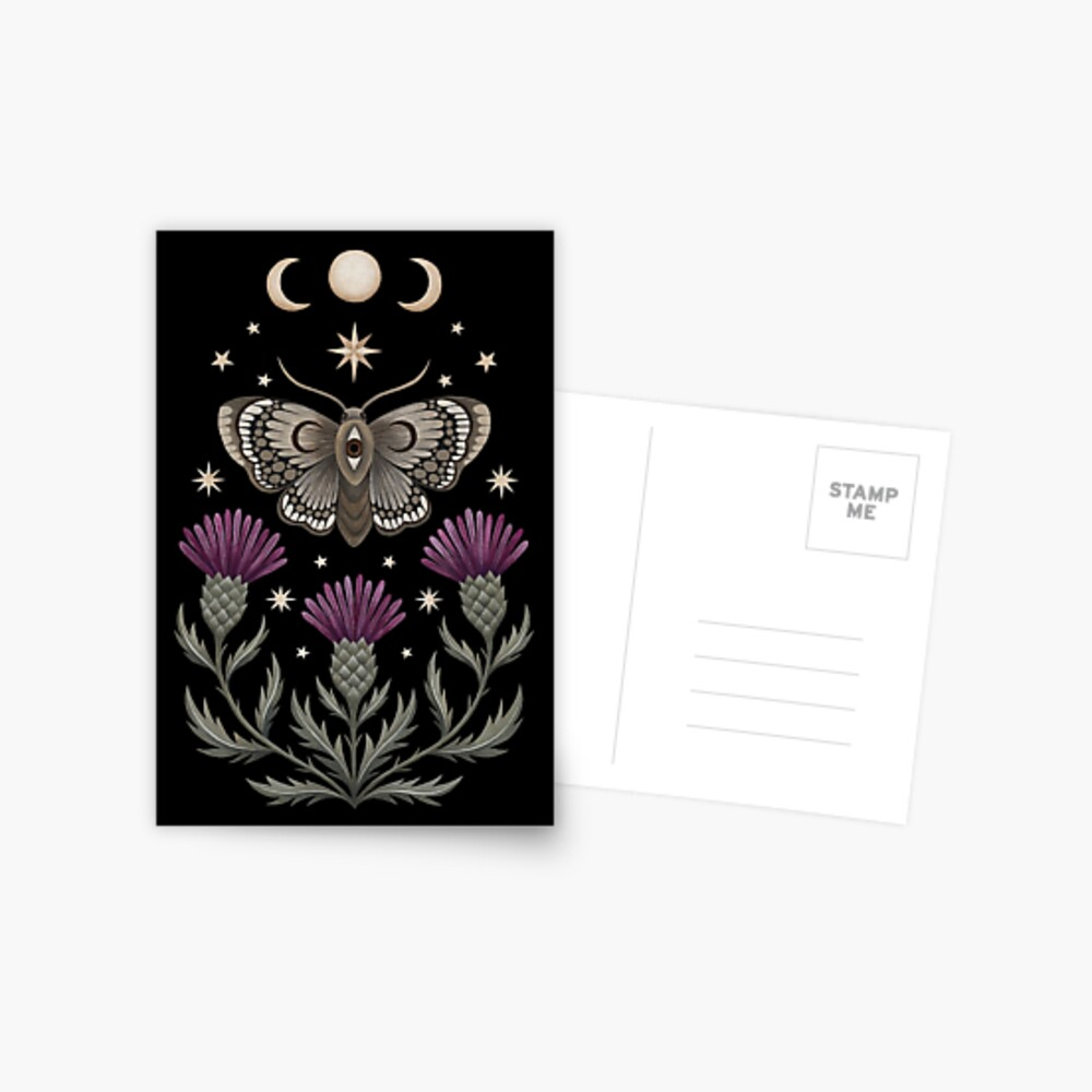 Thistle and moth Postcard