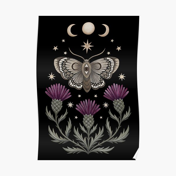 Thistle and moth Poster