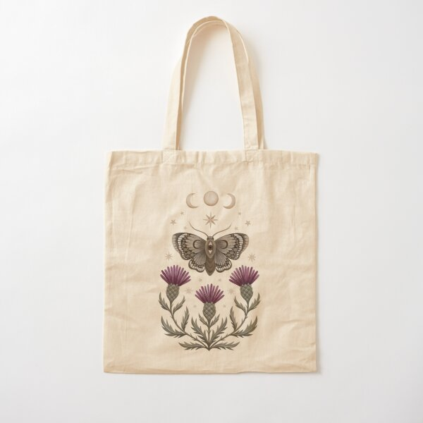 Thistle and moth Cotton Tote Bag