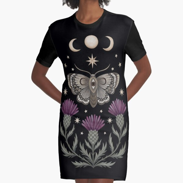 Thistle and moth Graphic T-Shirt Dress