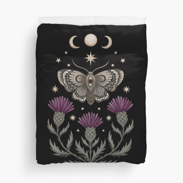 Thistle and moth Duvet Cover
