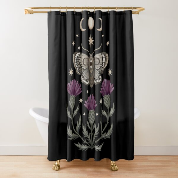 Thistle and moth Shower Curtain
