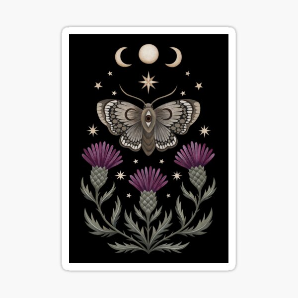 Thistle and moth Sticker