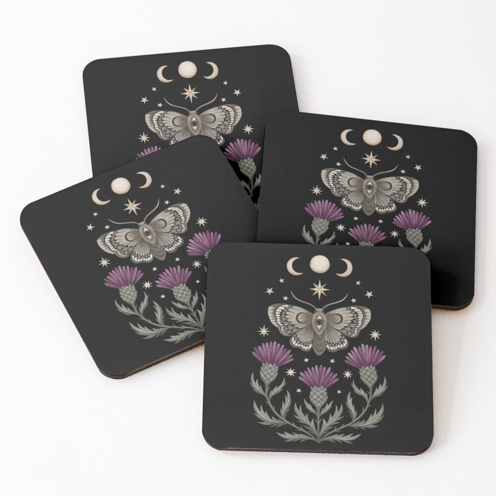 Thistle and moth Coasters (Set of 4)