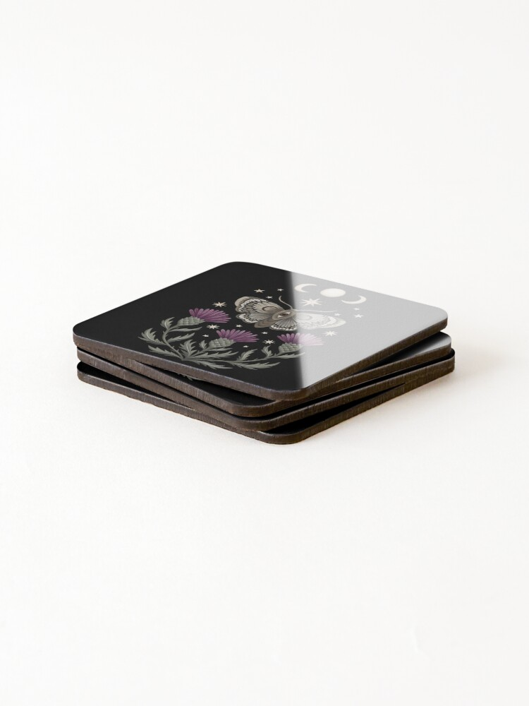 Alternate view of Thistle and moth Coasters (Set of 4)