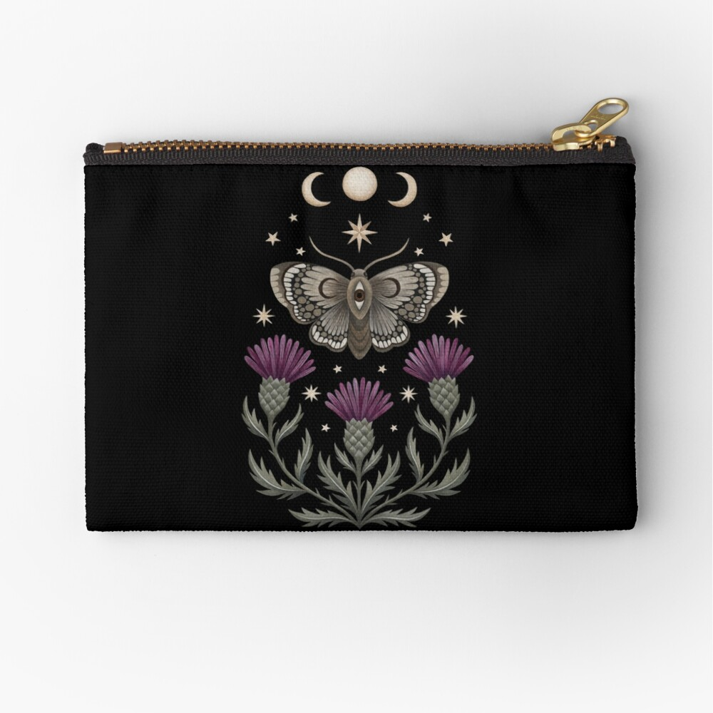 Thistle and moth Zipper Pouch