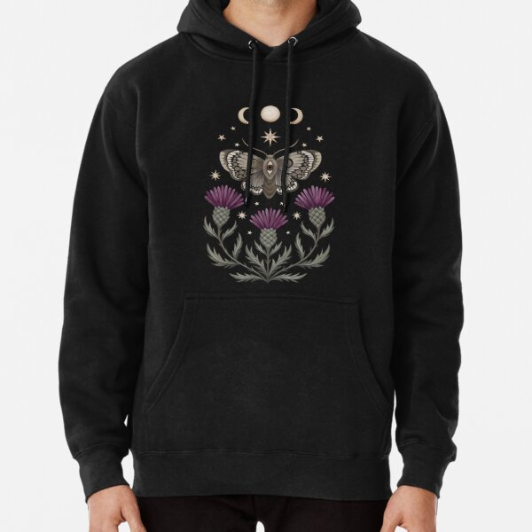 Thistle and moth Pullover Hoodie