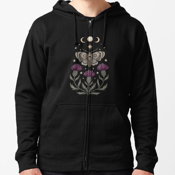 Thistle and moth Zipped Hoodie