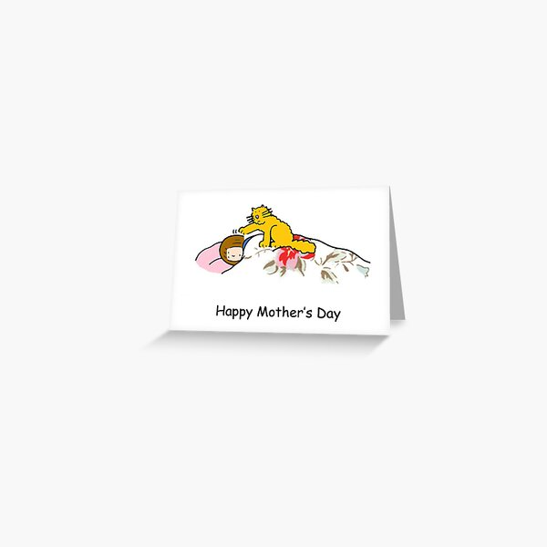 Happy Mother's Day Cartoon Ginger Cat Greeting Card