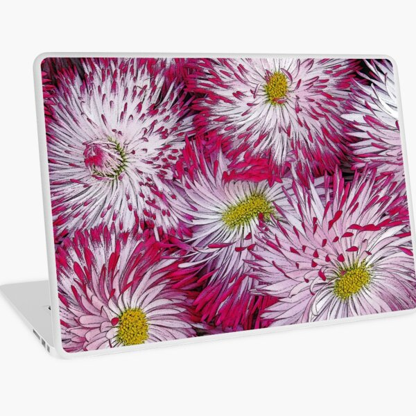 Habanera White with Red Tips Daisies Laptop Skin
