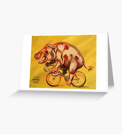 Hippo On A Bicycle 2 Greeting Card