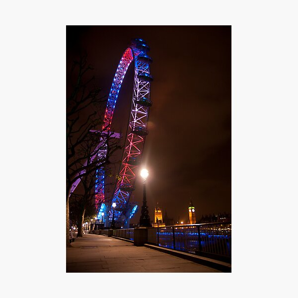 Red White Blue - London Eye & Big Ben Photographic Print