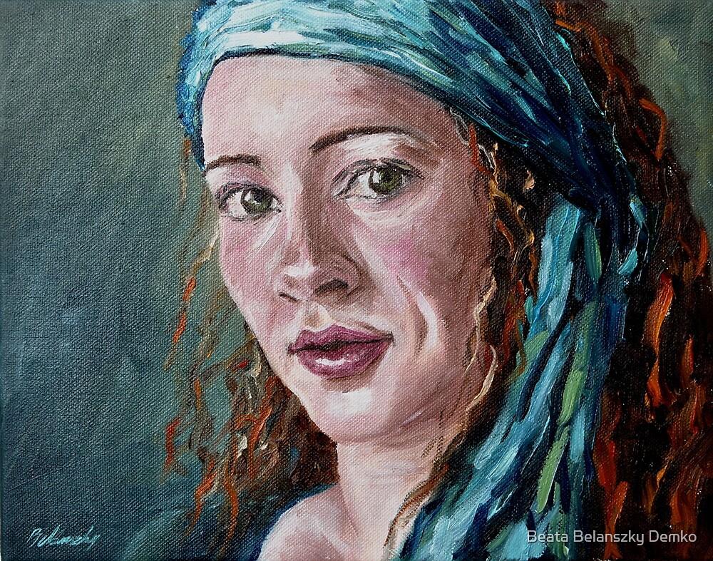 Self-portrait with headscarf by Beata Belanszky Demko