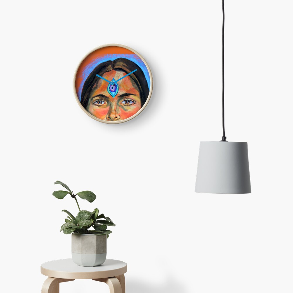 Blue Third Eye (self portrait) Clock