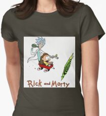 Rick and Morty Calvin and Hobbes Womens Fitted T-Shirt