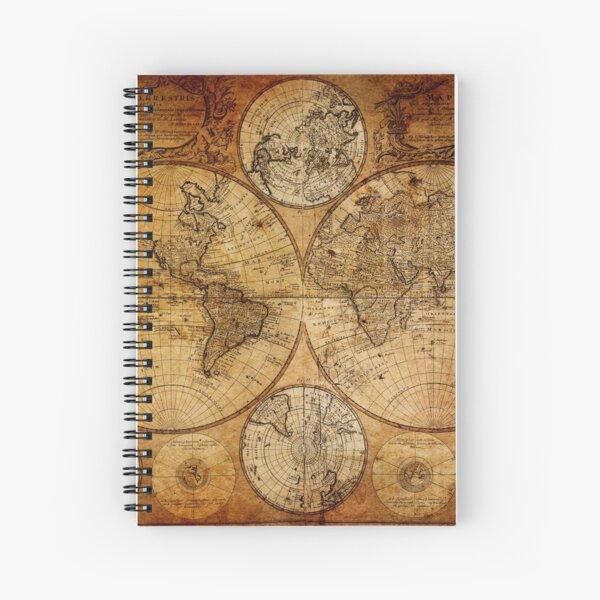Old vintage world's map Spiral Notebook