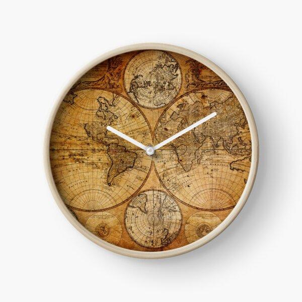 Ancienne carte du monde vintage Horloge