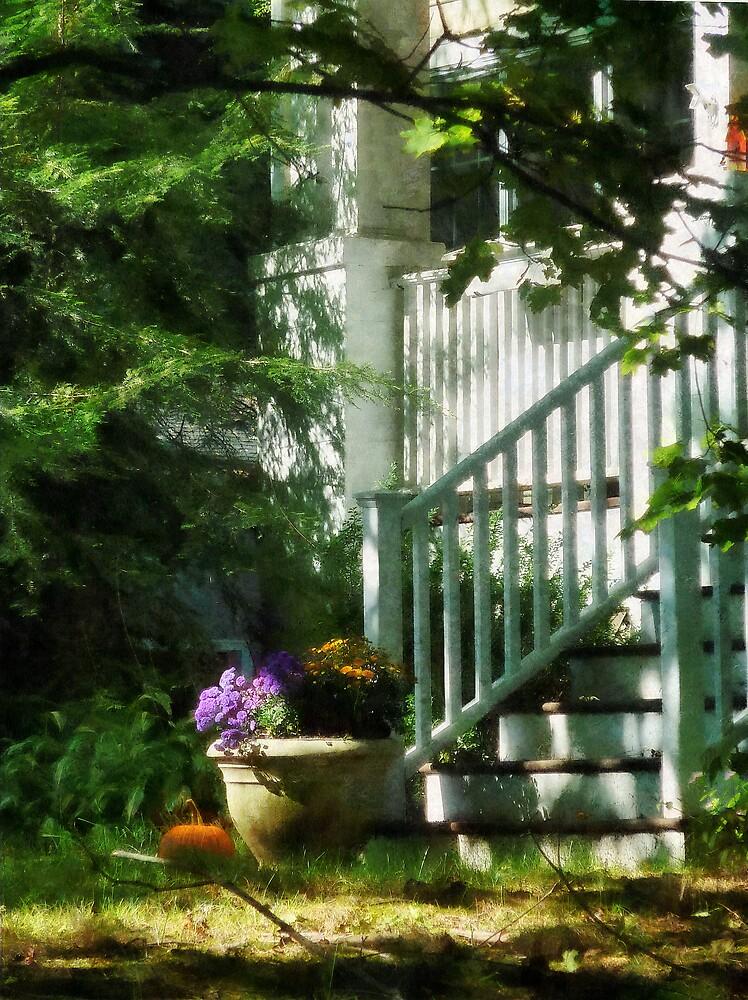 Porch with Urn and Pumpkin by Susan Savad