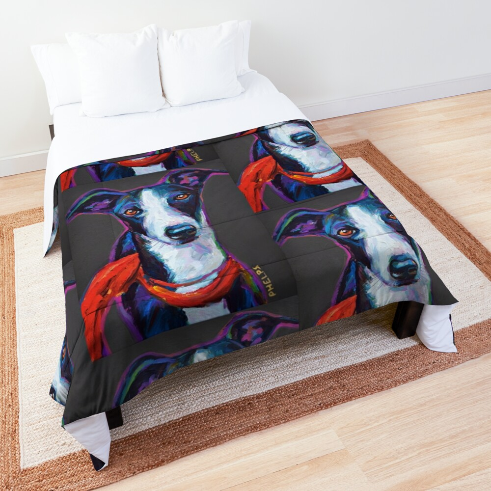 Greyhound with Scarf Comforter
