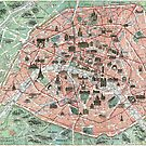 Vintage pocket map of Paris France by Glimmersmith