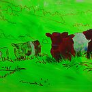 Red Belted galloway cows  by MikeJory