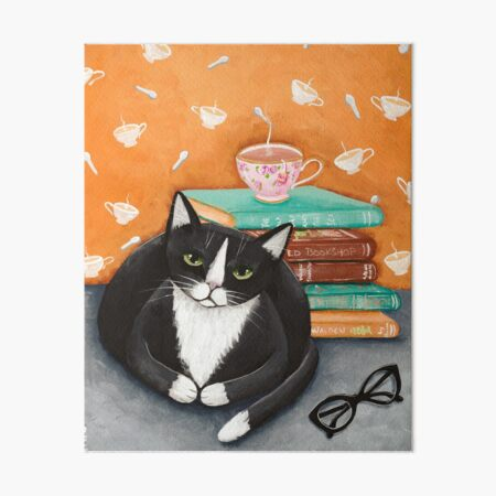 Tea, Books, and Cats Art Board Print