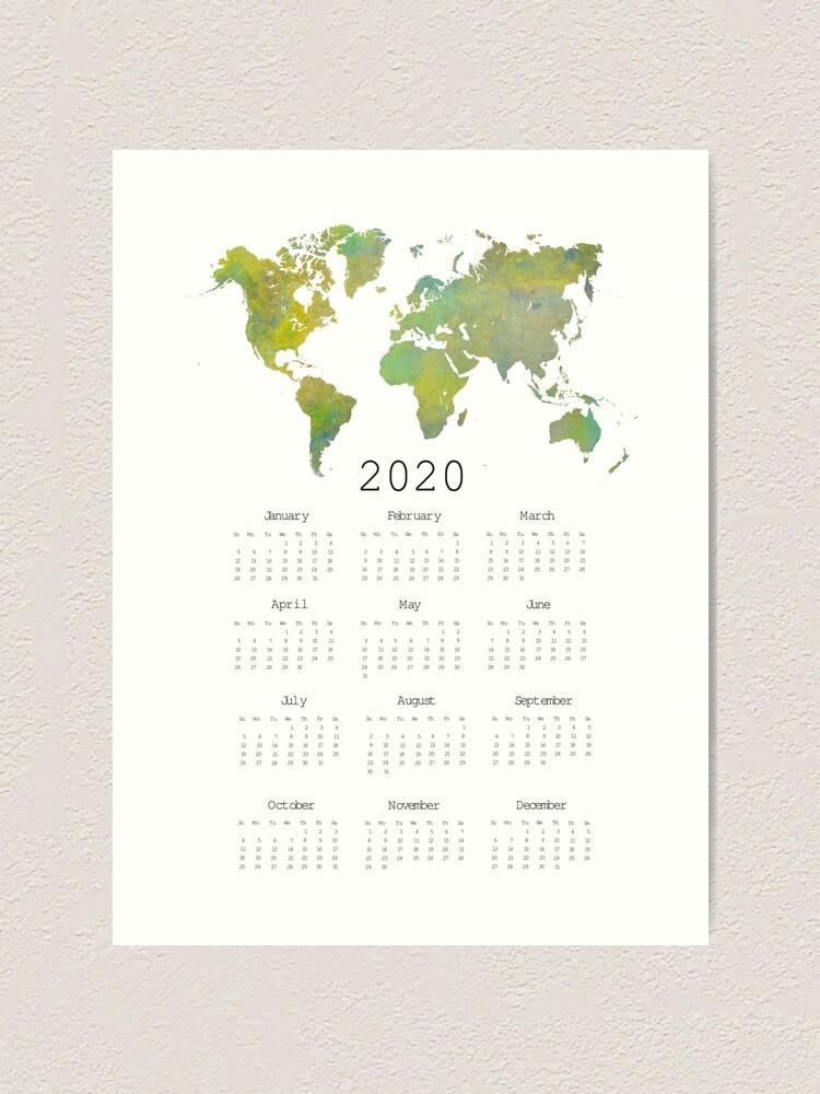 Alternate view of Calendar 2020 world map #calendar2020 Art Print