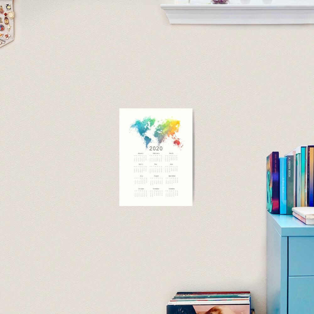 Calendar 2020 world map #calendar2020 Art Print