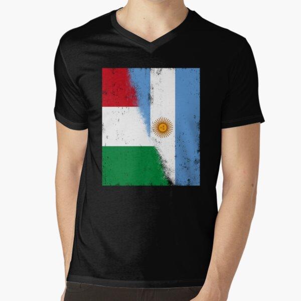 Italy and Argentina, Argentinian and Italian Mix Flags, Bandera de Argentina y Italia. Bandiere Italia e Australia V-Neck T-Shirt