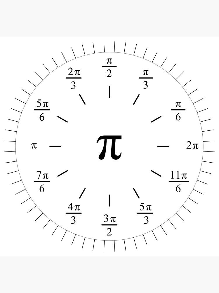 Pi Radians Clock face - Unit Circle v001 by rupertrussell