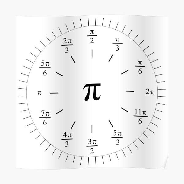 Pi Radians Clock face - Unit Circle v001 Poster