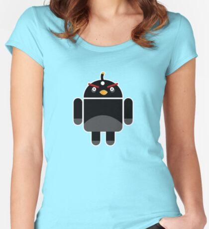 Droidbird (black bird) Women's Fitted Scoop T-Shirt